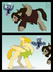 Size: 954x1296 | Tagged: safe, artist:husgryph, bird, parrot, pegasus, pony, clothes, comic, facehoof, mr. e, ponified, professor pericles, scooby doo, scooby doo mystery incorporated, shaggy rogers, shirt