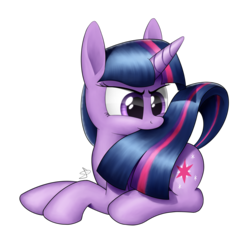 Size: 3070x3000 | Tagged: safe, artist:sheeppony, twilight sparkle, pony, biting, female, mare, nom, prone, silly, silly pony, simple background, solo, tail bite, transparent background