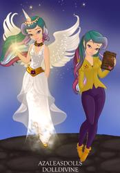 Size: 397x572 | Tagged: safe, artist:azaleasdolls, artist:wild-fire93, princess celestia, alicorn, fairy, human, equestria girls, barely eqg related, book, clothes, crossover, crown, disney, disney style, fairy wings, horn, jewelry, magic, magic aura, necklace, pixie scene maker, principal celestia, regalia, shoes, wings