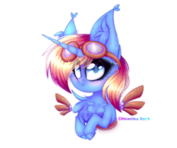 Size: 1200x1000 | Tagged: artificial wings, artist:divan666, artist:weasley dark, augmented, blushing, bust, chest fluff, chibi, cute, female, flight goggles, goggles, mare, mechanical wing, oc, oc only, oc:skydreams, pony, safe, unicorn, wings, ych result