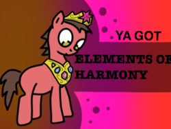 Size: 400x300 | Tagged: safe, anonymous artist, oc, oc only, oc:big brian, earth pony, pony, banned from equestria daily, crown, element of generosity, element of honesty, element of kindness, element of laughter, element of loyalty, element of magic, elements of harmony, jewelry, regalia, solo