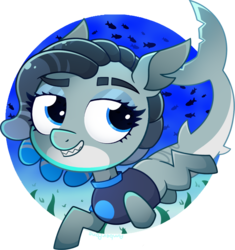Size: 973x1033 | Tagged: safe, artist:amberpone, oc, oc only, oc:tidal wave, fish, original species, shark, shark pony, blank flank, blue, blue background, blue eyes, commission, digital art, eyebrows, female, fullbody, looking at you, mare, paint tool sai, shading, shark tail, simple background, smiling, swimming, tail, transparent background, underwater