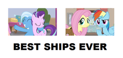 Size: 632x298 | Tagged: a horse shoe-in, best ship, daring doubt, edit, edited screencap, female, flutterdash, fluttershy, lesbian, rainbow dash, safe, screencap, shipping, spoiler:s09e20, spoiler:s09e21, starlight glimmer, startrix, trixie