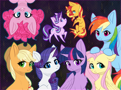 Size: 3100x2308 | Tagged: safe, artist:avrameow, applejack, fluttershy, pinkie pie, rainbow dash, rarity, starlight glimmer, sunset shimmer, twilight sparkle, alicorn, earth pony, pegasus, pony, unicorn, applejack's hat, chest fluff, cowboy hat, cute, cutie mark, eyeshadow, female, floppy ears, hat, high res, lifted hoof, looking at you, makeup, mane eight, mane six, mare, pose, smiling, twilight sparkle (alicorn), upside down