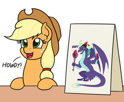 Size: 1100x900 | Tagged: safe, artist:dragonchaser123, artist:mkogwheel edits, edit, applejack, gaius (dragon), dragon, earth pony, applejack's hat, applejack's sign, bloodstone scepter, cowboy hat, dragon lord, hat, howdy, sign, simple background, table, text, white background