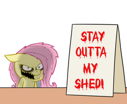 Size: 1100x900 | Tagged: safe, artist:hotdiggedydemon, artist:mkogwheel edits, edit, fluttershy, .mov, applejack's sign, implied grimdark, meme, open mouth, sign, stay out of my shed, text