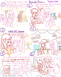 Size: 1280x1611 | Tagged: adorkable friends, apple cobbler, apple family member, artist:adorkabletwilightandfriends, autumn, bed, bedroom, bench, big cat, blanket, cellphone, cheerilee, comic, comic:adorkable twilight and friends, dinner, dragon, drink, earth pony, fan favorite, funny, humor, implied sex, kissing, lily, lilyspike, lily valley, lyra heartstrings, moon, night, oc, oc:kent, oc:pastor paul, oc:petey, oc:red, octavia melody, oc:tax pirate, phone, pillow, plushie, pony, safe, sitting, smartphone, spike, tiger, tree, unicorn, violated, window
