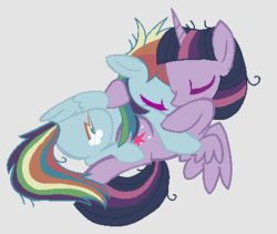 Size: 439x371 | Tagged: alicorn, base used, clone, eyes closed, female, gray background, horn, lesbian, lying down, mare, mean rainbow dash, mean twidash, mean twilight sparkle, pegasus, pony, safe, shipping, simple background, the mean 6, wings