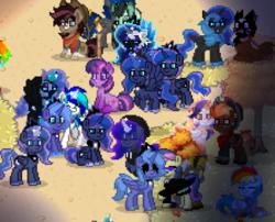 Size: 397x320   Tagged: safe, bon bon, nightmare moon, princess luna, sweetie drops, twilight sparkle, oc, pony, pony town, s1 luna, secret agent sweetie drops