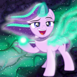 Size: 1000x1000   Tagged: safe, artist:illumnious, edit, starlight glimmer, pony, unicorn, the ending of the end, spoiler:s09e24, female, mare, put it on my tab, smug, smuglight glimmer, solo