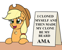 Size: 1100x900 | Tagged: ama, applejack, applejack's hat, applejack's sign, artist:mkogwheel edits, ask me anything, beard, clone, cowboy hat, facial hair, hat, meme, safe, sign, text