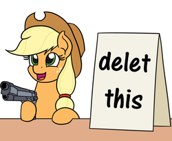 Size: 1100x900 | Tagged: safe, artist:mkogwheel edits, edit, applejack, earth pony, pony, applejack's hat, applejack's sign, cowboy hat, cute, delet this, female, gun, hat, howdy, mare, meme, sign, solo, weapon
