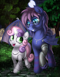 Size: 2100x2700 | Tagged: amputee, artist:awalex, bat pony, bat pony oc, cobblestone street, crucifix, cute, diasweetes, evening, glasses, glow, glowing eyes, glowing horn, horn, magic, magic aura, missing cutie mark, moon, oc, oc:bitmaker, open mouth, prosthetic limb, prosthetics, rain, robot, safe, sweetie belle, sweetie bot, unicorn