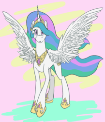 Size: 1008x1161 | Tagged: abstract background, alicorn, artist:koopakrazy85, female, jewelry, looking at you, mare, peytral, pony, princess celestia, regalia, safe, solo, spread wings, standing, surprised, wings