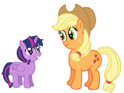 Size: 2732x2048 | Tagged: age regression, alicorn, alternate cutie mark, alternate hairstyle, alternate universe, applejack, applejack's hat, artist:turnaboutart, cowboy hat, earth pony, fanfic art, fanfic:mama applejack, female, filly, hairband, hat, mare, mother and daughter, safe, simple background, stetson, transparent background, twilight sparkle, twilight sparkle (alicorn)