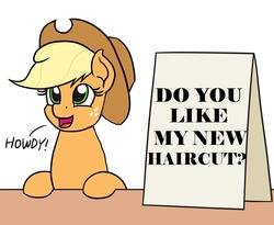 Size: 1100x900 | Tagged: safe, artist:mkogwheel edits, edit, applejack, applejack's hat, applejack's sign, cowboy hat, haircut, hat, howdy, meme, question, text