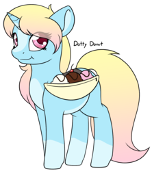 Size: 1172x1320 | Tagged: artist:mynder, banana, banana split, blaze (coat marking), cherry, crack ship offspring, cute, female, filly, food, ice cream, looking at you, markings, multicolored hair, oc, oc:dotty donut, pale belly, pony, saddle bag, safe, smiling, socks (coat marking), solo, unicorn