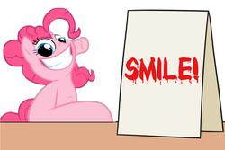 Size: 1100x736 | Tagged: safe, artist:misterdavey, artist:mkogwheel edits, edit, pinkie pie, pony, smile hd, applejack's sign, implied grimdark, meme, punch, sign, smiling, teeth, wide eyes
