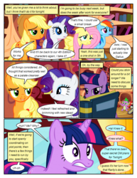 Size: 612x792 | Tagged: applejack, artist:newbiespud, book, bookcase, comic, comic:friendship is dragons, dialogue, dragon, earth pony, edit, edited screencap, female, fluttershy, freckles, frown, golden oaks library, grin, hat, lidded eyes, male, mare, pegasus, pony, rainbow dash, rarity, reading, safe, screencap, screencap comic, slit eyes, smiling, spike, twilight sparkle, unicorn, unicorn twilight, worried