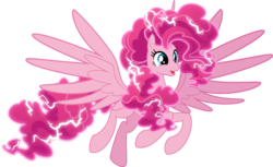 Size: 4000x2445 | Tagged: safe, artist:orin331, pinkie pie, alicorn, pony, alicornified, digital art, electricity, female, mare, pinkiecorn, race swap, simple background, smiling, solo, spread wings, transparent background, wings, xk-class end-of-the-world scenario