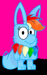 Size: 1182x1886 | Tagged: safe, artist:rainbow eevee, rainbow dash, oc, oc:rainbow eevee, eevee, bluey, cute, female, looking at you, pokémon, simple background, solo, species swap, transparent background, vector, wat, weird