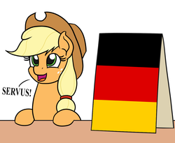 Size: 1100x900 | Tagged: applejack, applejack's sign, artist:mkogwheel edits, cowboy hat, cute, earth pony, edit, female, german, germany, greeting, hair tie, hat, meme, open mouth, pony, safe, servus, sign, solo, this meme escalated quickly