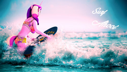 Size: 3840x2160 | Tagged: 3d, 4k, anthro, artist:apexpredator923, bikini, clothes, female, mare, ocean, princess cadance, safe, solo, source filmmaker, surfboard, swimsuit, text, wallpaper, writing