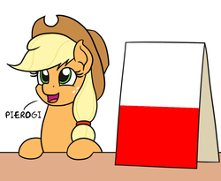 Size: 1100x900 | Tagged: safe, artist:mkogwheel edits, edit, applejack, pony, applejack's hat, applejack's sign, cowboy hat, hat, pierogi, poland, polish, simple background, table, white background