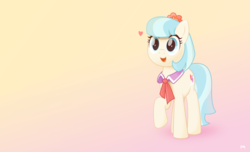 Size: 8700x5281   Tagged: safe, artist:potato22, coco pommel, earth pony, pony, absurd resolution, female, filter, gradient background, heart, mare, smiling, solo, vector