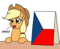 Size: 1100x900 | Tagged: safe, artist:mkogwheel edits, edit, applejack, earth pony, pony, applejack's hat, applejack's sign, cowboy hat, czech, czech republic, czechia, female, greeting, hat, meme, simple background, solo, table, this meme escalated quickly, white background