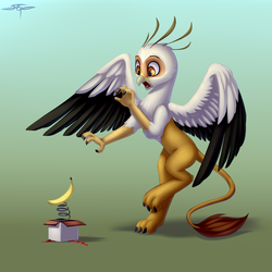 Size: 3000x3000 | Tagged: artist:setharu, banana, box, food, griffon, heraldric rampancy, oc, oc:vistamage, safe, scared, solo, spread wings, tail, wings