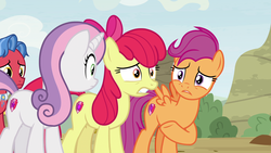 Size: 1920x1080 | Tagged: apple bloom, biscuit, cutie mark crusaders, growing up is hard to do, older, older apple bloom, older scootaloo, older sweetie belle, pony, safe, scootaloo, screencap, spoiler:s09e22, sweetie belle