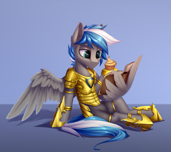 Size: 3000x2662 | Tagged: safe, artist:setharu, oc, oc:cloud zapper, pegasus, pony, armor, book, cupcake, dessert, food, hoof shoes, male, reading, sitting, solo, stallion, wing hands, wing hold, wings