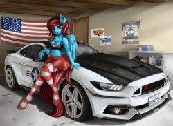 Size: 1940x1423 | Tagged: anthro, artist:pony-way, belly button, car, clothes, female, ford, ford mustang, looking at you, mustang, oc, oc:lucid heart, oc only, pegasus, safe, socks, solo, striped socks, unguligrade anthro