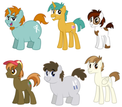 Size: 7213x6358 | Tagged: adult, artist:aleximusprime, button mash, chubby, earth pony, facial hair, fat, featherweight, goatee, grown ups, hat, male, older, pegasus, pipsqueak, safe, show accurate, slim, snails, snips, stallion, tall, teenager, thin, truffle shuffle, unicorn