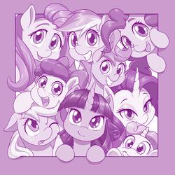 Size: 1280x1280 | Tagged: safe, artist:dstears, apple bloom, applejack, fluttershy, pinkie pie, rainbow dash, rarity, scootaloo, sweetie belle, twilight sparkle, alicorn, earth pony, pegasus, pony, unicorn, cute, cutie mark crusaders, digital art, female, filly, looking at you, mane six, mare, monochrome, one eye closed, open mouth, smiling, twilight sparkle (alicorn)
