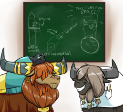 Size: 2400x2200 | Tagged: artist:rocket-lawnchair, chalkboard, cover art, fanfic art, male, prince rutherford, safe, spaceship, yak