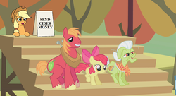 Size: 1276x696 | Tagged: apple bloom, applejack, applejack's hat, applejack's sign, artist:mkogwheel edits, begging, big macintosh, bleachers, cowboy hat, edit, edited screencap, fall weather friends, granny smith, hat, meme, safe, screencap, tree