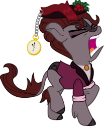 Size: 1376x1665 | Tagged: safe, artist:sketchmcreations, kirin, doctor who, female, hat, kirin-ified, missy, pocket watch, simple background, species swap, the mistress, transparent background, vector, yelling