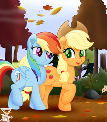 Size: 2400x2727 | Tagged: applejack, applejack's hat, artist:theretroart88, autumn, cowboy hat, cute, dashabetes, duo, earth pony, fall weather friends, female, hat, high res, jackabetes, leaves, looking at each other, mare, movie accurate, one leg raised, open mouth, pegasus, pony, rainbow dash, raised hoof, safe, smiling, stetson