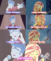 Size: 1752x2072 | Tagged: safe, edit, edited screencap, screencap, flash sentry, sunset shimmer, cheer you on, equestria girls, equestria girls series, let it rain, spoiler:eqg series (season 2), a whole new world, aladdin, female, flashimmer, male, reference, shipping, singing, straight