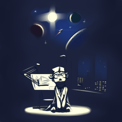 Size: 4000x4000 | Tagged: safe, artist:toanderic, pony, unicorn, blueprint, clothes, colored sketch, engineer, glasses, lab coat, night, planet, rocket, scientist, sketch, solo, space, stars, window