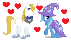 Size: 583x341 | Tagged: bluetrix, edit, female, male, prince blueblood, safe, shipping, straight, trixie