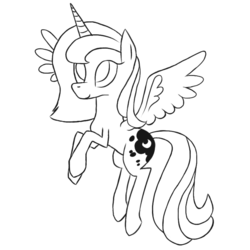Size: 1000x1000   Tagged: safe, artist:moon-litskies, princess luna, alicorn, pony, flying, s1 luna, simple background, sketch, solo