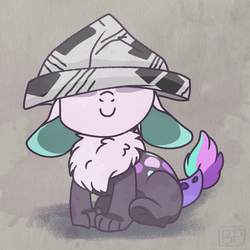 Size: 1000x1000 | Tagged: artist:glitterstar2000, baby, chest fluff, covered eyes, cute, dawwww, draconequus, draconequus oc, female, floppy ears, hat, hybrid, interspecies offspring, newspaper, newspaper hat, oc, ocbetes, oc:nayade, offspring, paper hat, parent:discord, parent:princess celestia, parents:dislestia, safe, sitting, smiling, solo