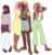Size: 1340x1408 | Tagged: safe, artist:unicorngutz, fluttershy, tree hugger, oc, oc:shy meadows, oc:summer song (ice1517), butterfly, human, icey-verse, anklet, bandana, clothes, commissions, dark skin, denim shorts, dress, family, feet, female, flats, flutterhugger, high heels, hijab, hug, humanized, humanized oc, islam, islamashy, lesbian, magical lesbian spawn, mary janes, miniskirt, mother and daughter, offspring, pants, parent:fluttershy, parent:tree hugger, parents:flutterhugger, religion, ring, sandals, shipping, shirt, shoes, shorts, siblings, simple background, sisters, skirt, socks, stockings, sweater, t-shirt, tanktop, thigh highs, transparent background, wedding ring