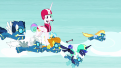 Size: 1920x1080 | Tagged: safe, screencap, blaze, fleetfoot, high winds, lightning streak, misty fly, princess celestia, princess luna, silver lining, silver zoom, alicorn, pegasus, pony, between dark and dawn, spoiler:s09e13, female, male, mare, ponies riding ponies, riding, stallion, wonderbolts