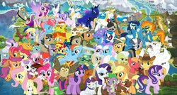 Size: 1398x748   Tagged: safe, artist:omegapony16, aloe, angel bunny, apple bloom, applejack, babs seed, big macintosh, braeburn, bulk biceps, carrot cake, cheerilee, cup cake, daring do, diamond tiara, discord, dj pon-3, doctor whooves, filthy rich, fluttershy, granny smith, gummy, lotus blossom, maud pie, mayor mare, octavia melody, opalescence, owlowiscious, pinkie pie, pipsqueak, pound cake, prince blueblood, princess cadance, princess celestia, princess flurry heart, princess luna, pumpkin cake, quibble pants, rainbow dash, rarity, scootaloo, shining armor, silver spoon, snails, snips, soarin', spike, spitfire, starlight glimmer, sunset shimmer, sweetie belle, tank, time turner, trixie, twilight sparkle, twist, vinyl scratch, winona, zecora, alicorn, bird, cat, dog, draconequus, dragon, earth pony, owl, pegasus, pony, rabbit, tortoise, unicorn, zebra, animal, cake twins, clothes, colt, cutie mark crusaders, female, filly, flexing, flying, freckles, glasses, goggles, hat, male, mane seven, mane six, map, map of equestria, mare, neck rings, puffy cheeks, raised hoof, siblings, spa twins, spread wings, stallion, twilight sparkle (alicorn), twins, uniform, wings, wonderbolts, wonderbolts uniform, yoke