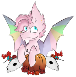 Size: 924x936   Tagged: safe, artist:hunterthewastelander, oc, oc only, bat pony, pony, bat pony oc, candy, chest fluff, commission, ear fluff, flower, food, impossibly large ears, male, pumpkin, simple background, skull, solo, spread wings, stallion, transparent background, wings, ych result