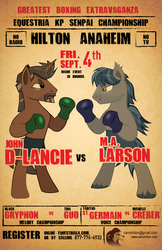 Size: 594x918 | Tagged: safe, artist:samoht-lion, bat pony, pony, equestria girls, equestria girls series, unsolved selfie mysteries, beard, bipedal, boxing, boxing gloves, facial hair, john de lancie, m.a. larson, male, ponified, poster, sports, stallion, text